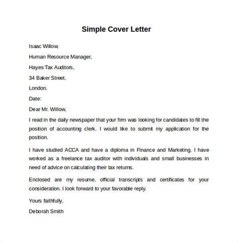 sample cover letter template 8 download free documents