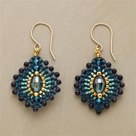beading earrings blue plume earrings koraliki beading
