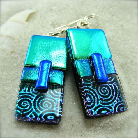 how to make fused glass jewelry fused glass dichroic earrings fused glass earrings
