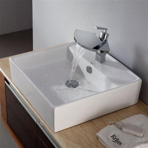 kitchen sink shower kraus c kcv 150 14801ch white square ceramic sink and