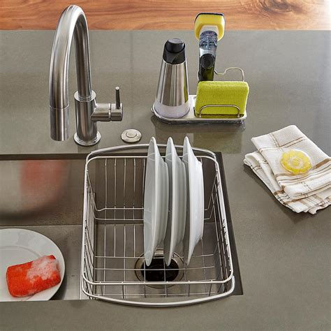 the kitchen sink organizer oxo stainless steel sink organizer the container store