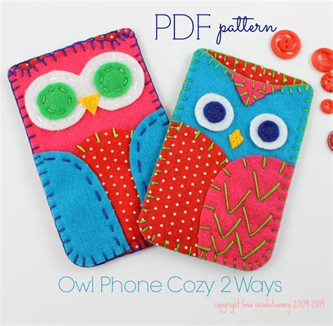 free craft ideas for owl phone felt by lovahandmade sewing pattern