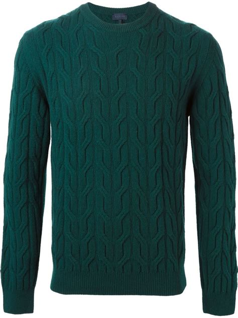 green cable knit sweater lanvin cable knit sweater in green for lyst