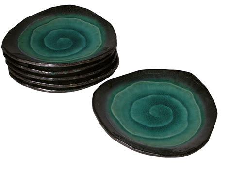 Ceramic Kitchen Canisters teal on dark brown crackled glazed japanese plates set for six