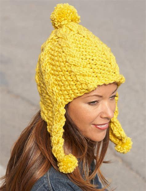 earflap hat knitting pattern bernat golden glow earflap hat knit pattern yarnspirations