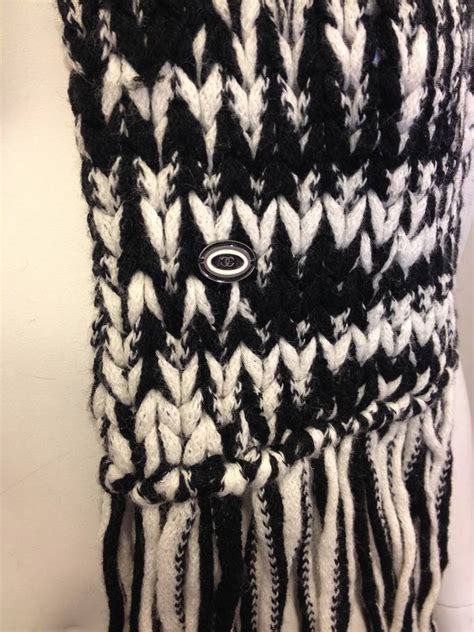 white knit scarf chanel black and white knit scarf at 1stdibs