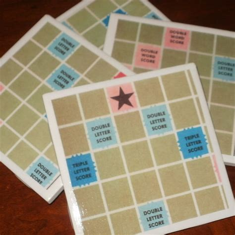 ox scrabble scrabble board tile coasters set of 4 vintage