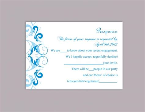 aqua card make a payment diy wedding rsvp template editable word file instant