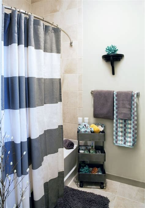 bathroom decor ideas for apartment remarkable ways to inspire with striped curtains