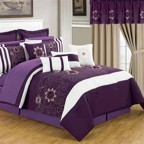 home bedding sets lavish home amanda purple 25 king comforter set 66