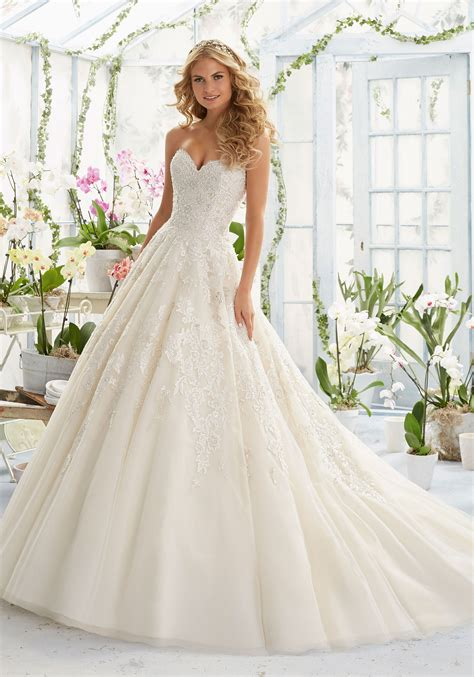 wedding dresses with beading embroidery on classic tulle wedding dress style