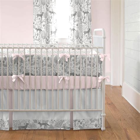 and grey crib bedding pink and gray woodland crib bedding carousel designs