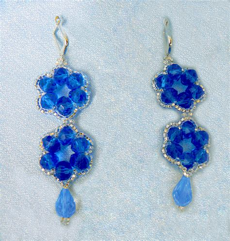 free beaded earring patterns free pattern for earrings blue flowers magic