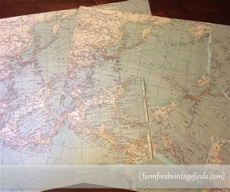 map decoupage paper how to decoupage a sidetable farm fresh vintage finds