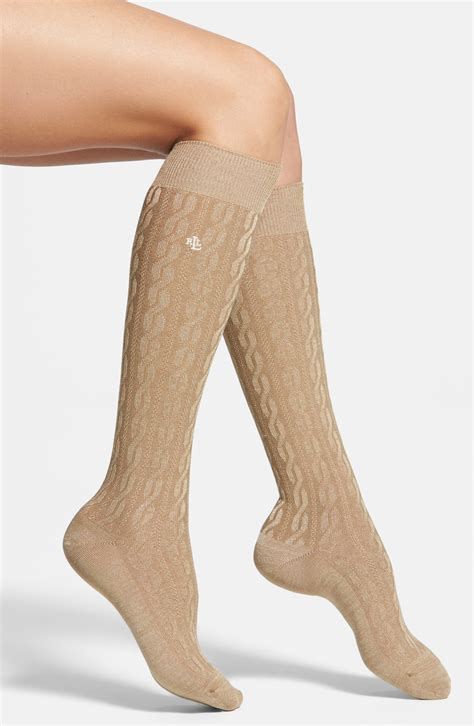 cable knit knee socks ralph cable knit knee high socks in beige camel
