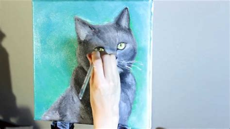black cat painting step by step acrylic speed painting cat furby
