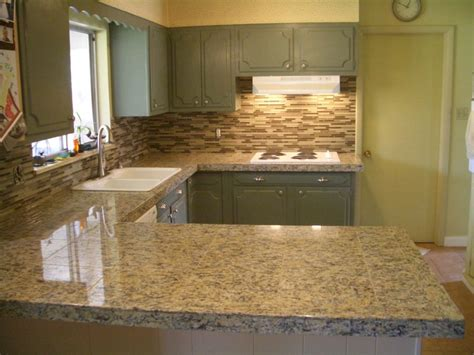 granite tile backsplash kitchen granite tile countertop and glass backsplash