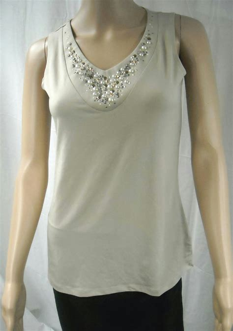 liquid knit tops new susan graver liquid knit tank top with embellishments