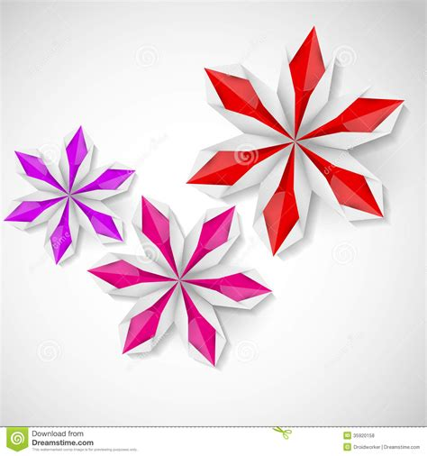 2d origami flower flower origami on a white background royalty free stock