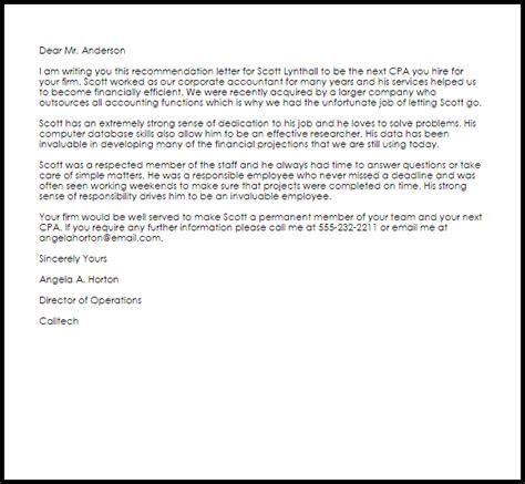cpa recommendation letter recommendation letters