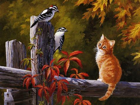 do cat painting autumn friends cats wallpaper 630912 fanpop