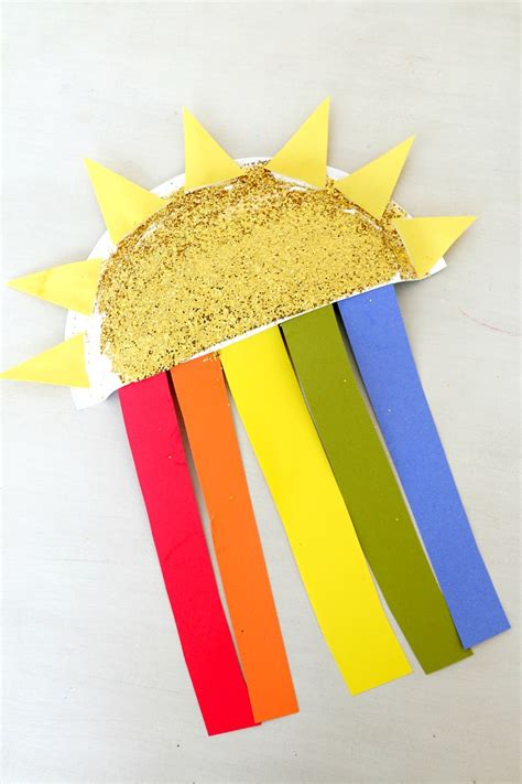 paper plate sun craft sun and rainbow paper plate craft rainbows