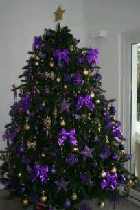 purple and gold tree use silver bows