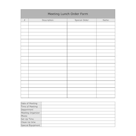 Smartdraw Floor Plan lunch meeting order form