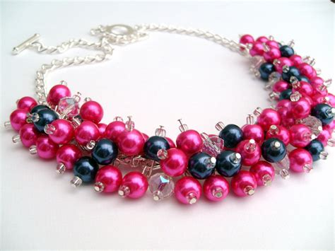 pink beaded necklace pink and navy blue beaded necklace pink bridesmaid