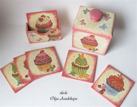 decoupage coasters kitchen set cup coasters with box for them and scoop