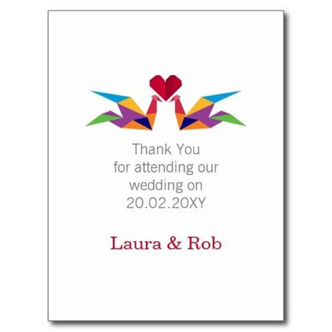 postcard origami origami rainbow cranes wedding thank you postcard http