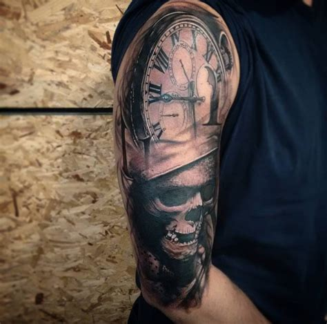 pocket watch amp skull half sleeve best tattoo design ideas