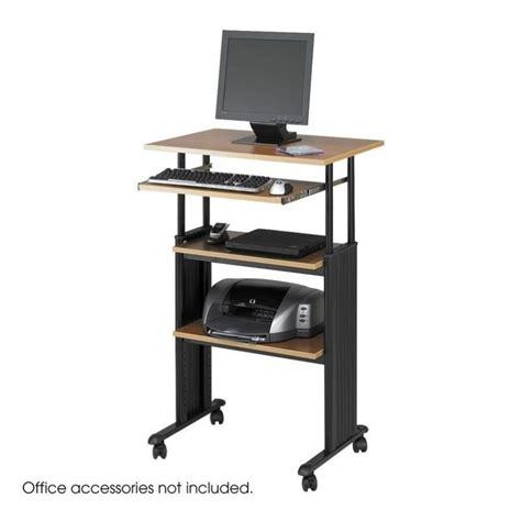 computer desk workstation safco m 220 v standing height adjustable wood workstation
