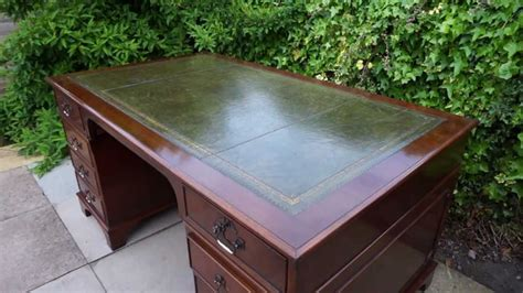 office desk leather top large pedestal office writing desk antique style