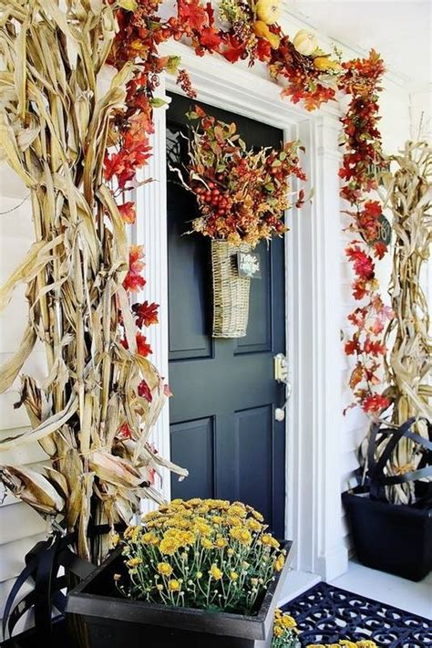 autumn front door decorating ideas beautiful fall decorations made with dried corn and corn