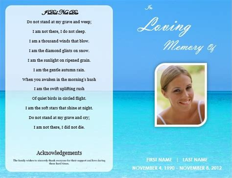 how to make a funeral memorial card single fold funeral program template for