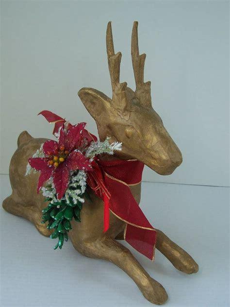 12 Quot Gold Paper Mache Reindeer Centerpiece Woodland Green