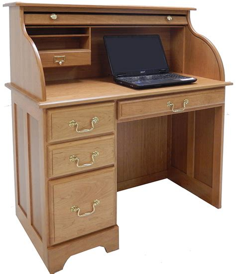 roll top desk 42 quot w single pedestal solid cherry roll top desk