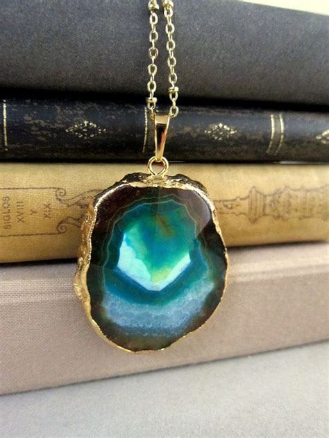large stones for jewelry gold necklaces layering stacking blue teal aqua ombre