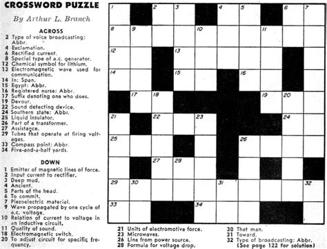 crossword clue crossword puzzle september 1957 popular electronics rf cafe