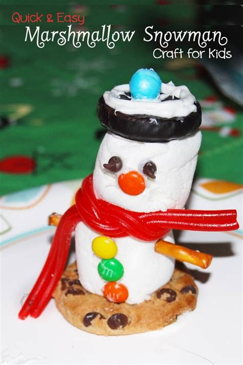 easy crafts for marshmallow snowmen and easy marshmallow snowman craft for