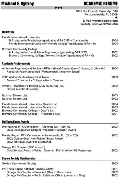 scholarship academic resume