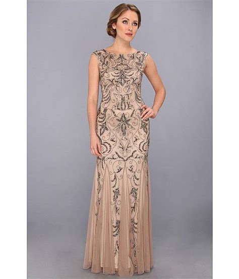 beaded gowns for of the papell cap sleeve beaded gown zappos 298