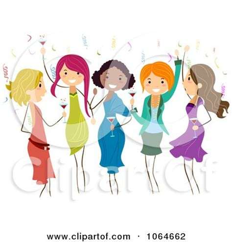 Royalty Free (RF) Clipart Illustration of a Group Of Young Ladies Chatting Over Coffee by BNP