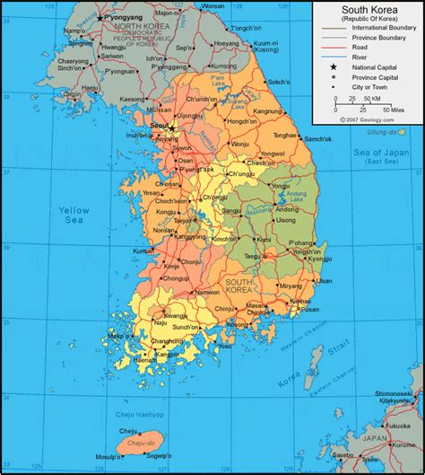 South Korea Map And Satellite Image