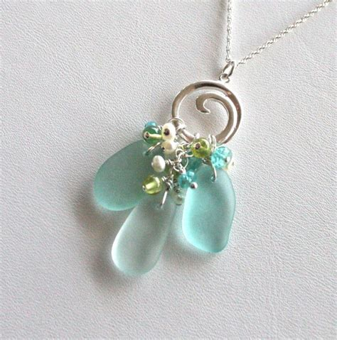 sea glass jewelry sea glass jewelry aqua sea foam green wave toggle necklace