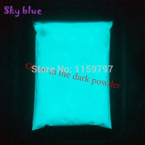sky blue glow in the pigment powder bright sky blue color and green color phosphor powder glow