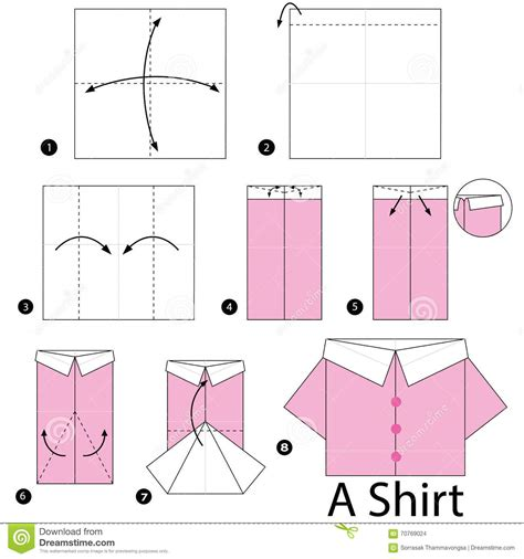 how to make an origami shirt step by step how to make origami shirt stock