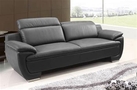 canap 233 3 places en cuir italien rimini noir mobilier priv 233