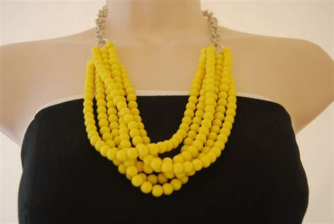 yellow beaded necklace statement necklace yellow beaded necklace chunky bold